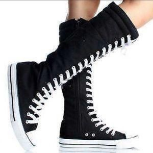 Converse Knee high lace up boots black classic 9